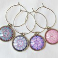Mandala Wine Glass Charms Barware Set Pink Purple Homewares Earrings Accessories