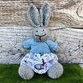 Ella the Knitted Bunny Rabbit Toy with Bunny  Skirt and Mint Jumper