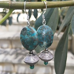 African turquoise and silver earrings.