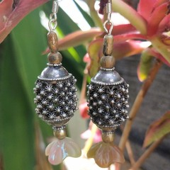 Vintage Turkish silver earrings with resin drops.
