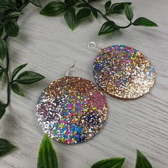 Round DISCO ROSE Gold Silver Glitter Resin - MEGA Dangle earrings