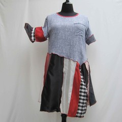 Red black and white dress, plus size upcycled dress, refashioned dress