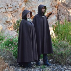 Medium Length Brown Wool Blend Cloak