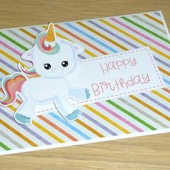 Happy Birthday card - baby unicorn