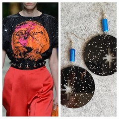 Chrissy Celestial Black Glitter Earrings