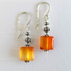 Sterling silver and orange carnelian bohemian earrings