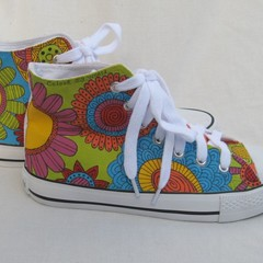 Hand painted sneakers, graffiti flower shoes, floral sneakers, wearable art