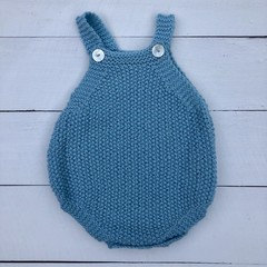 Hand Knitted Baby's Romper in Mint Green Pure Wool, fits 3-6 months