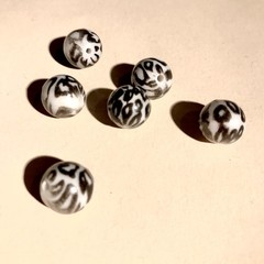 Animal print beads - Leopard - 12mm - grey & black  - 6 pieces