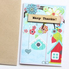 Thank You Card | Blue Florals with Wooden Accent | Gratitude Appreciation
