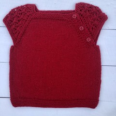 Gorgeous Hand Knitted Short Sleeved Top in Ruby Red Pure Wool, fits 2-3 years
