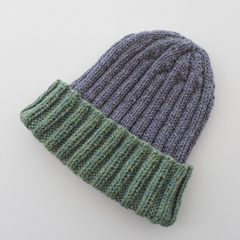 Adult Size Rib Hat with Fold Up Cuff in Gray and Green