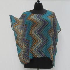 Aqua plus size tunic, geometric caftan, blue kaftan cover up, boho tunic