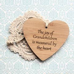 The Joy Of Grandchildren Is Measured By The Heart | Bamboo Heart Decoration