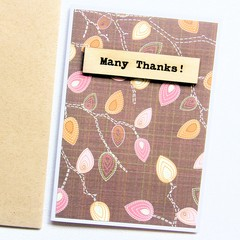 Thank You Card | Leaves with Wooden Accent | Gratitude Appreciation