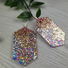 Gem DISCO ROSE  Glitter Resin - MEGA Dangle earrings