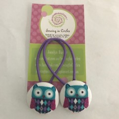 Purple and turquoise Owl hair ties