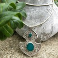 Turkish silver filigree and teal agate inlay necklace.