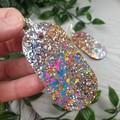 Oval DISCO ROSE Gold Silver Glitter Resin - MEGA Dangle earrings