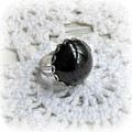 Black Cocktail Ring Swarovski Glass Crystal Chunky Dome Round Silver Adjustable