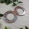 Circle Hoop DISCO ROSE Gold Silver Glitter Resin - MEGA Dangle earrings