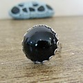 Black Cocktail Ring Swarovski Glass Crystal Chunky Dome Round Silver Adjustable