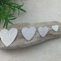 Hand Made Textured Heart, Sterling Silver. Jewellery Making Supplies / Blanks.