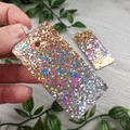 Rectangle DISCO ROSE  Glitter Resin - MEGA Dangle earrings