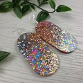 Oval DISCO ROSE Gold Silver Glitter Resin - MEGA Dangle earrings