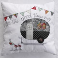 Cushion cover - Retro caravan with bunting and birds