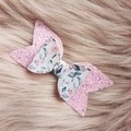 Hair Bow Set, Pink Floral, Glitter