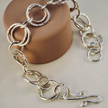 Handmade double link sterling silver bracelet | Textured silver chain bracelet