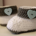 Baby Booties with Baby Blue Heart Buttons for 0-6 and 6-12 months