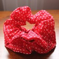 Hair Scrunchie - Red with Tiny Sweet Hearts