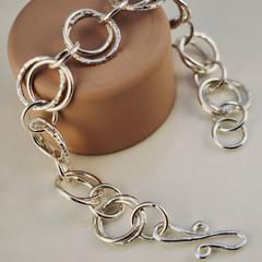Handmade double link sterling silver bracelet | Textured silver chain bracelet