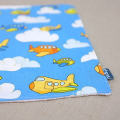 wash cloth - blue planes / organic cotton hemp fleece / eco friendly