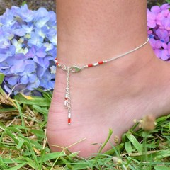 Friendship Silver Fine Chain Anklet with Bead Highlights - Minimalist Boho style