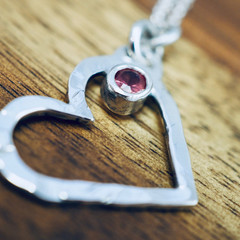 Silver heart pendant with red spinel | Sterling silver heart necklace