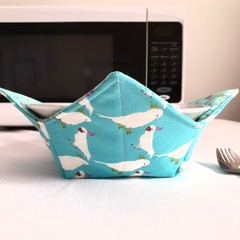 Hot Bowl Cozy | Hot Bowl Holder | Blue Cockatoo | Reversible