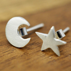 Moon and star earrings | 925 Sterling silver studs | Handmade earrings