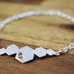 Hexagon silver bracelet with pink spinel | Dainty silver bracelet