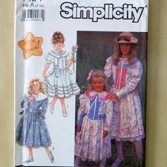 Simplicity 7124 sewing pattern, girls dress pattern, sizes 7 to 14
