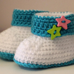 Baby Booties with Pink & Green Stars for 0-6 and 6-12 months