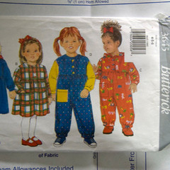 Butterick pattern 3645 Toddlers/Childrens Dress and Jumpsuit UNCUT