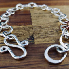 Sterling silver bracelet | hammered bracelet with copper link | Handmade