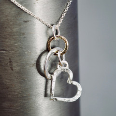 Silver heart pendant with solid 9ct gold link | Silver love necklace with gold |