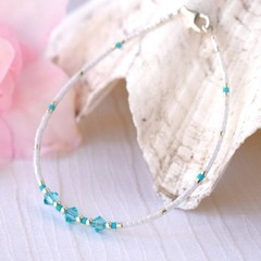 Swarovski Friendship Bracelet or Anklet - Minimalist Bead Jewellery - 5 Bears