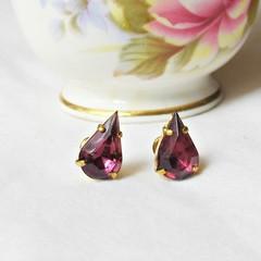 Amethyst Purple Earrings Jewellery Ear Studs Vintage Teardrop Pear Crystal