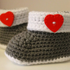 Baby Booties with Red Hearts for 0-6 and 6-12 months
