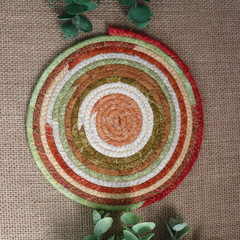 Small Rope Heat pads-  Farmhouse Brown, green and Cream